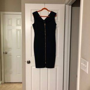 Navy blue midi dress with gold zipper detail